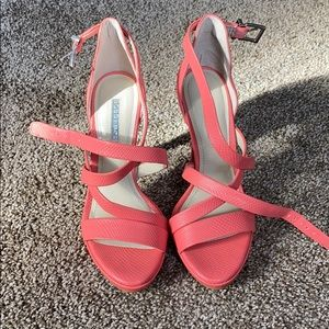 Bcbg barely used strappy coral heels